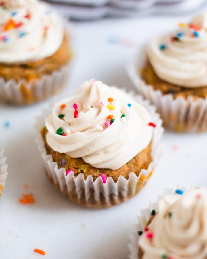 close up of vanilla cupcake
