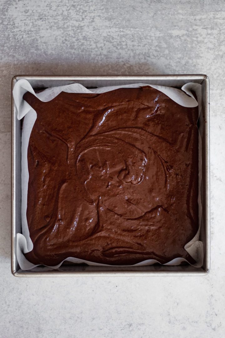 brownie batter in tin