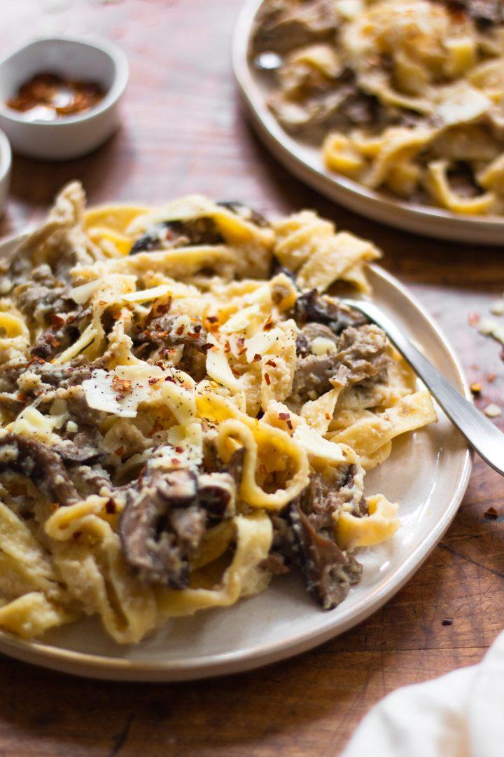 close up of healthy mushroom pasta