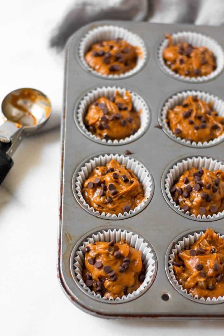 pumpkin muffins before baking