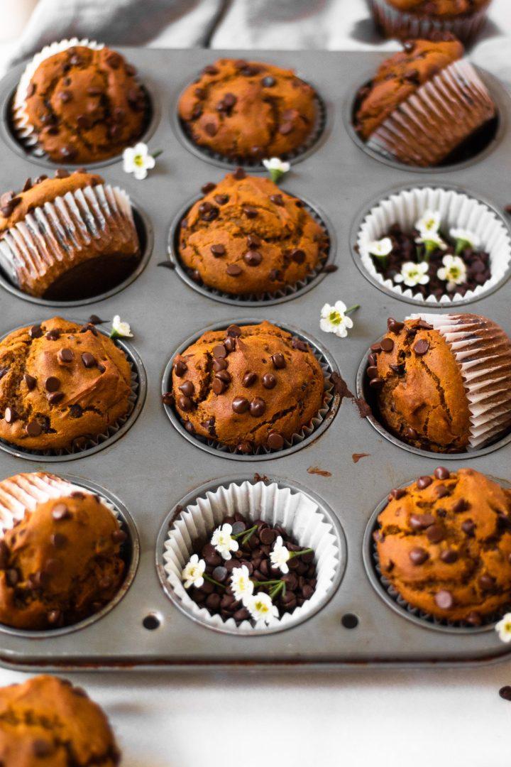 close up of muffins in muffin tin