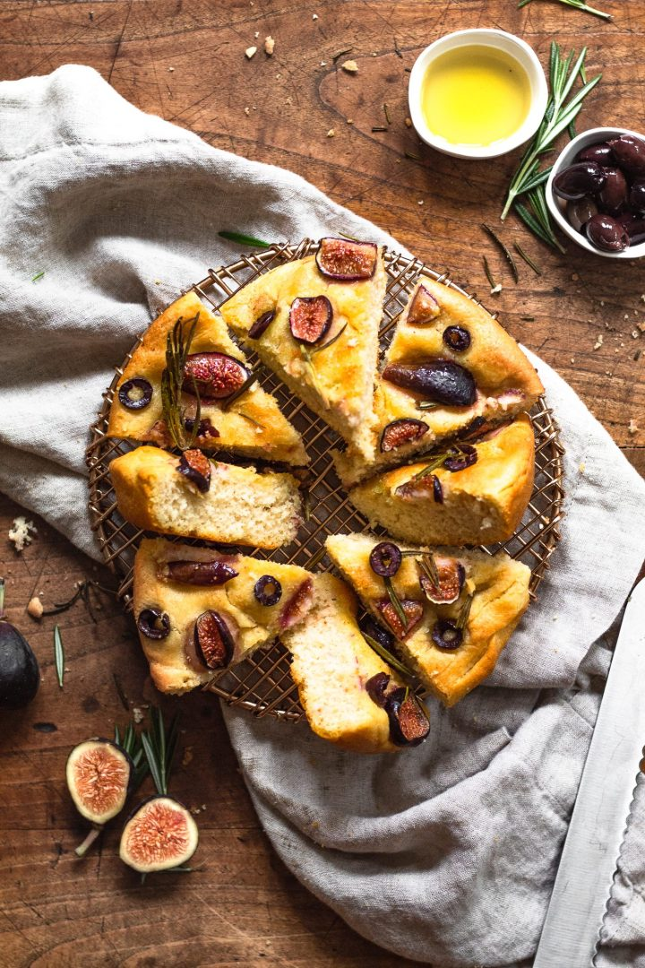 fig and rosemary focaccia bread on cooling rack