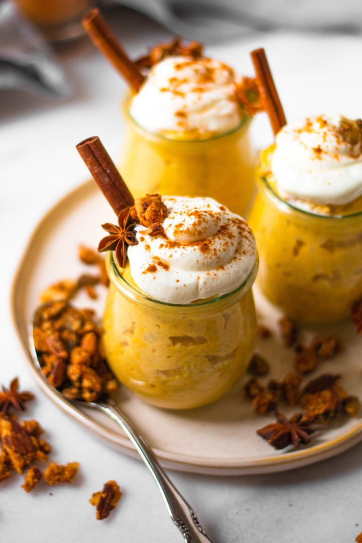 pumpkin spice jars on plate