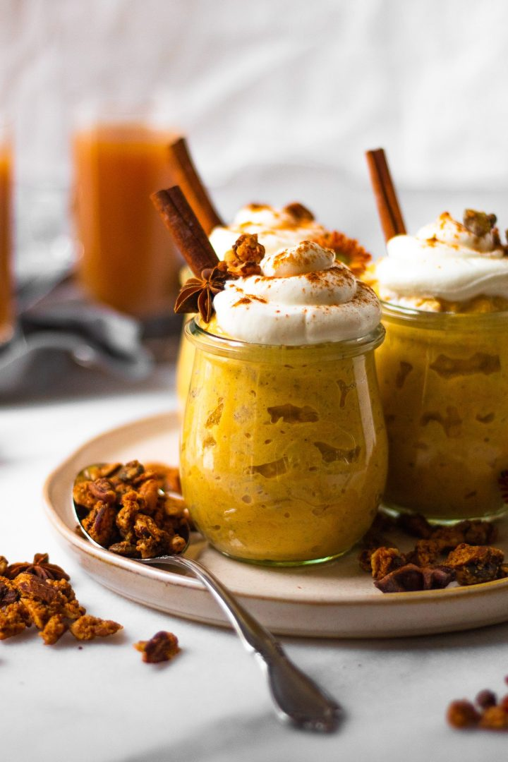 close up of pumpkin pie jars