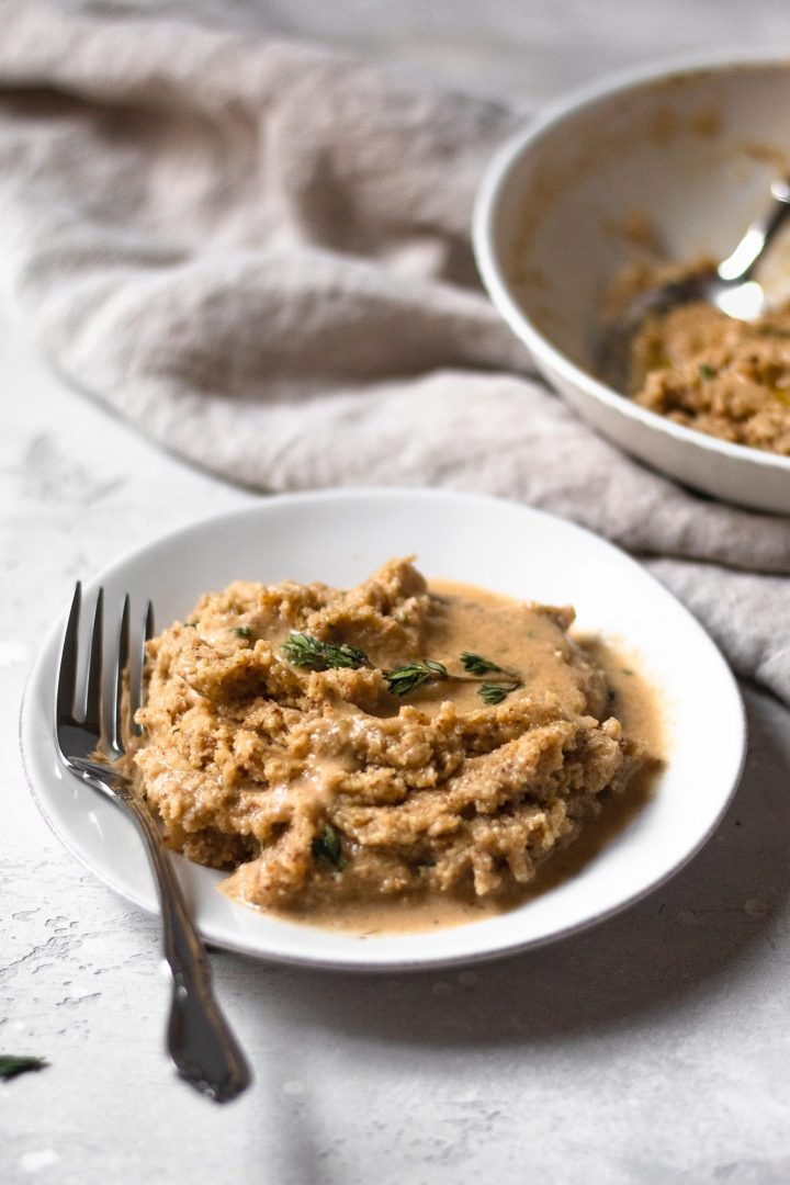 plate of cauliflower mash with vegan gravy