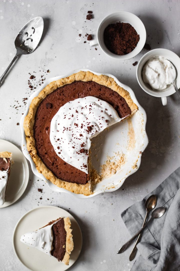 healthy chocolate pie with slices taken out