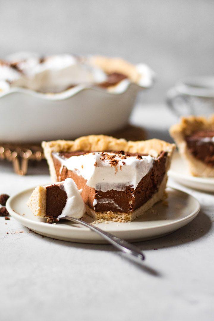 paleo vegan chocolate cream pie with bite missing