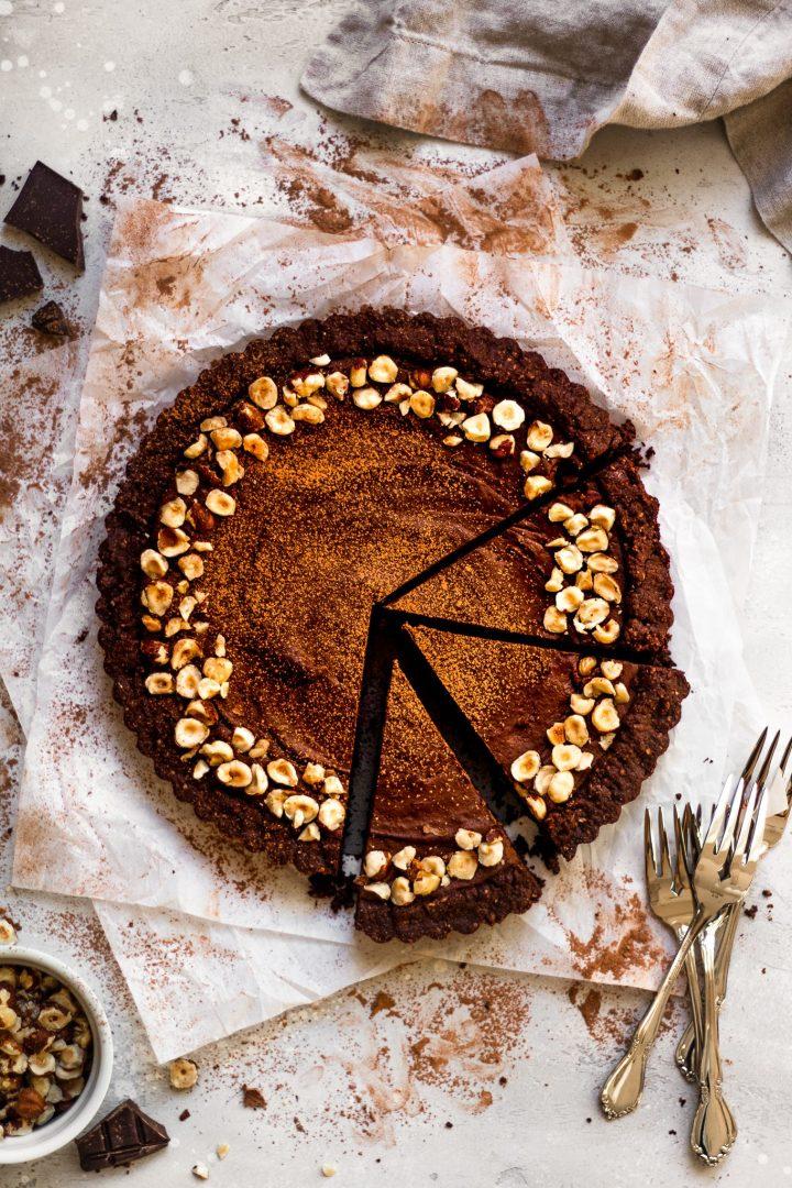 sliced chocolate hazelnut tart