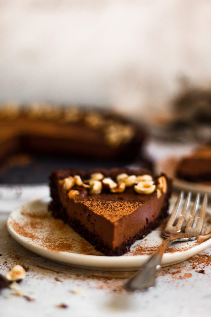 slice of chocolate hazelnut tart