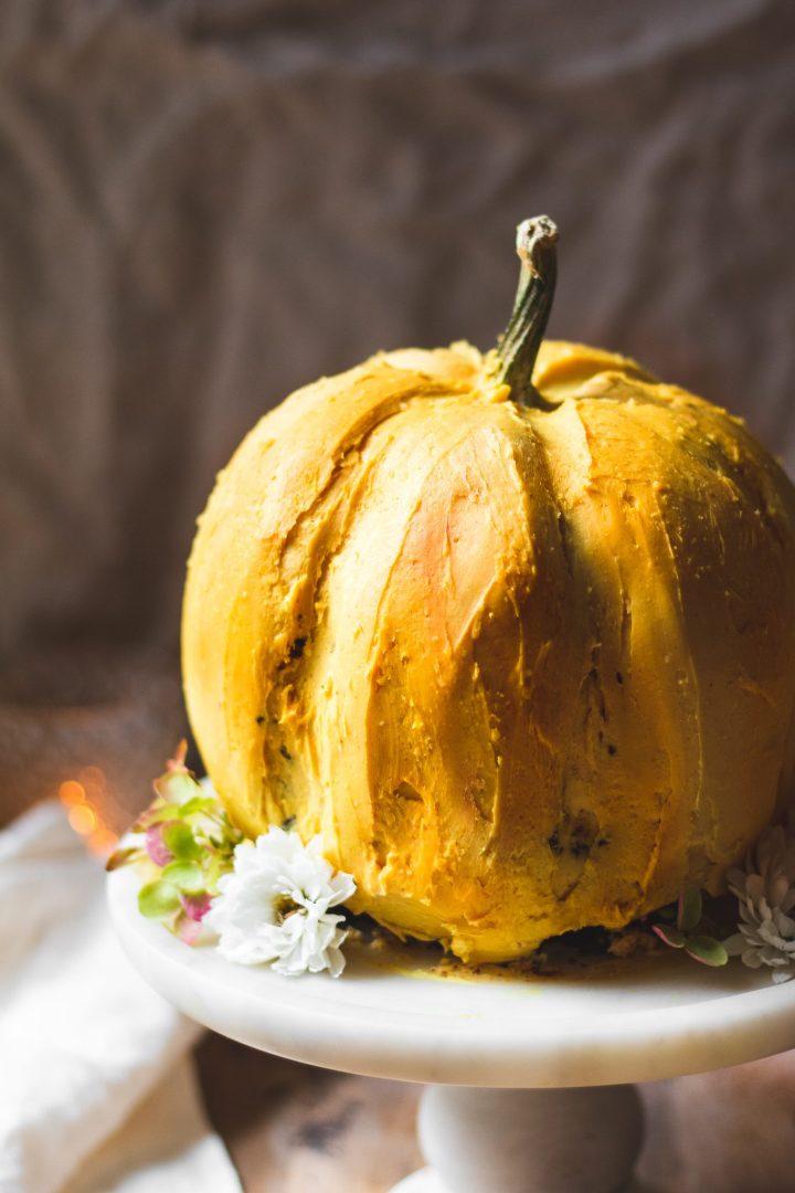 close up of pumpkin cake