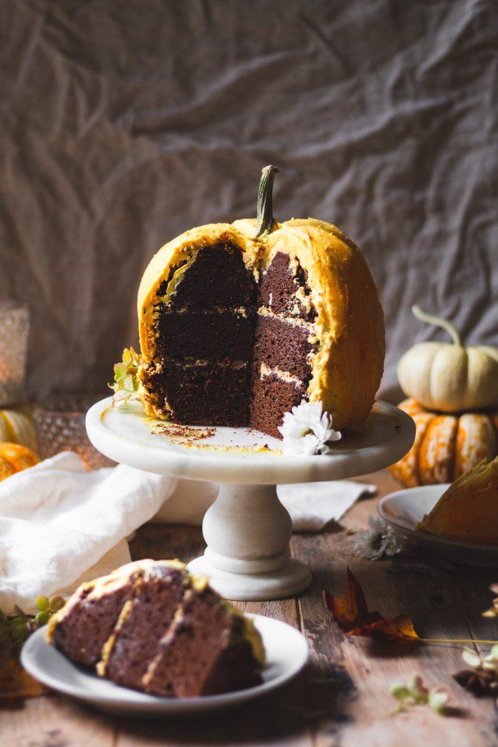 close up of pumpkin cake sliced