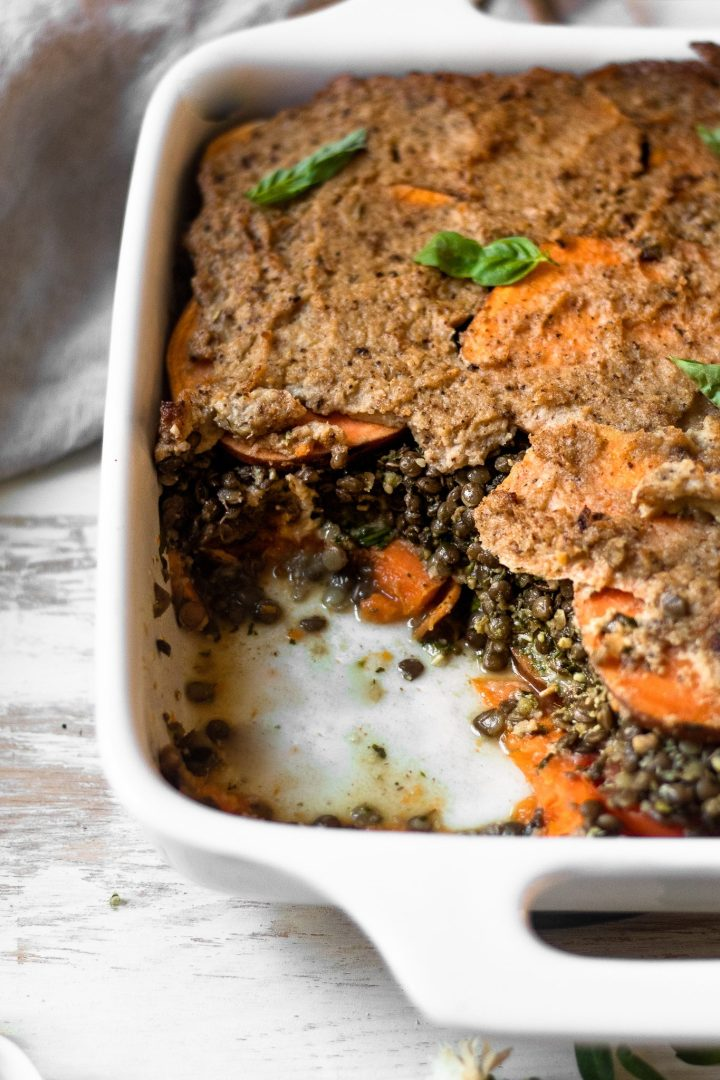 close up of scooped out lentil lasagna