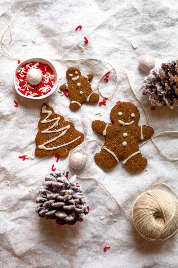 three gingerbread cookies