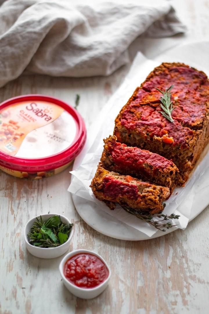 lentil loaf with sabra
