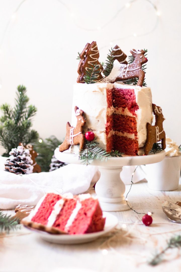 sliced red velvet cake