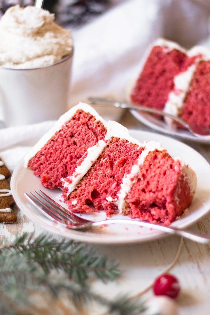 eaten slice of red velvet cake