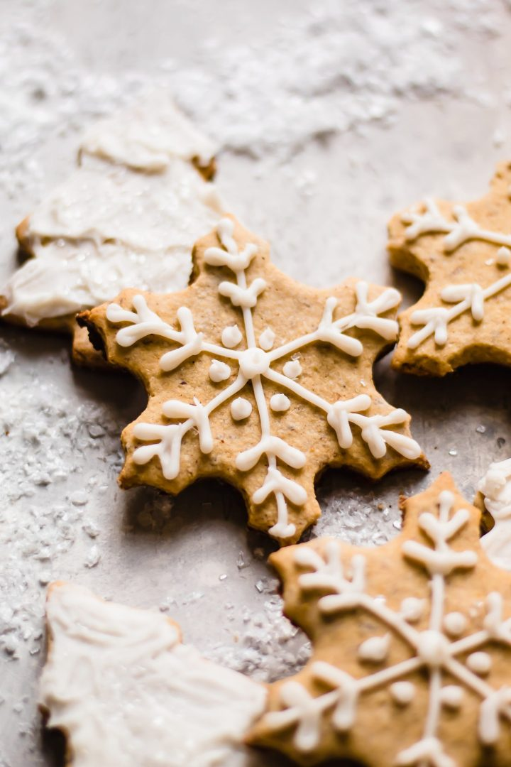 close up of snowflake paleo sugar cookie