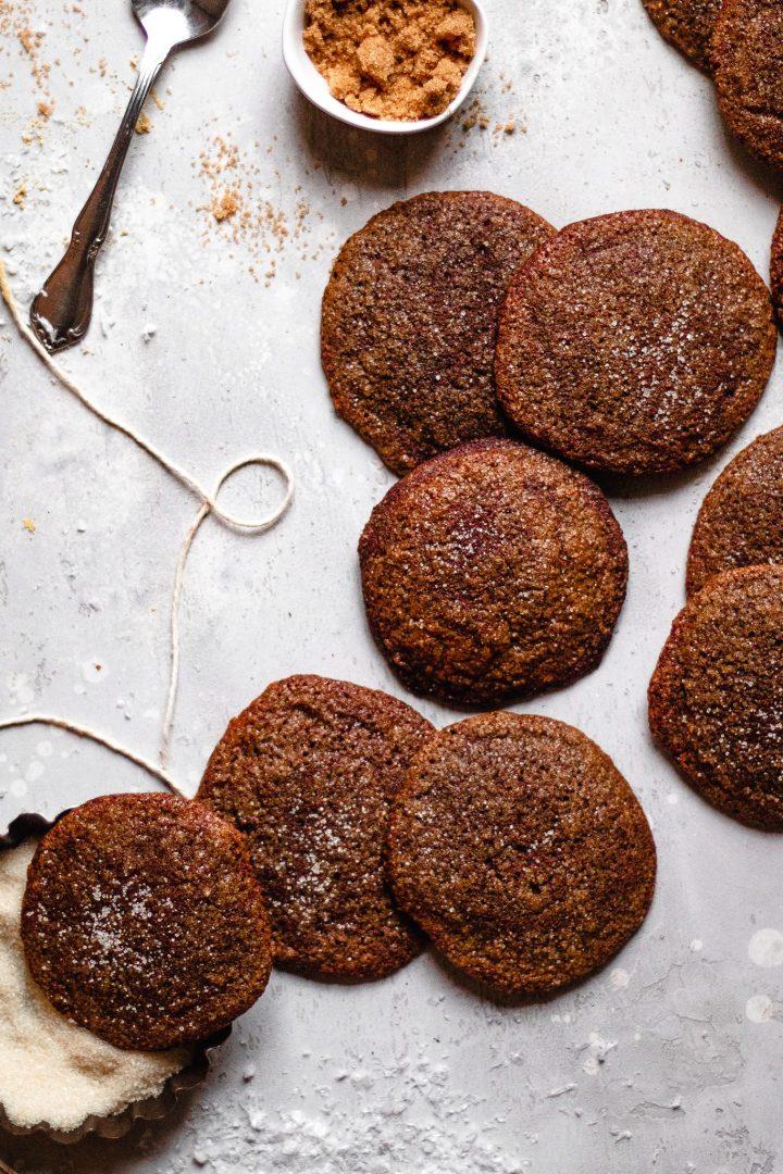paleo ginger molasses cookies dipped in sugar