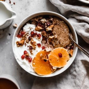 grain free hot cereal bowl with coffee