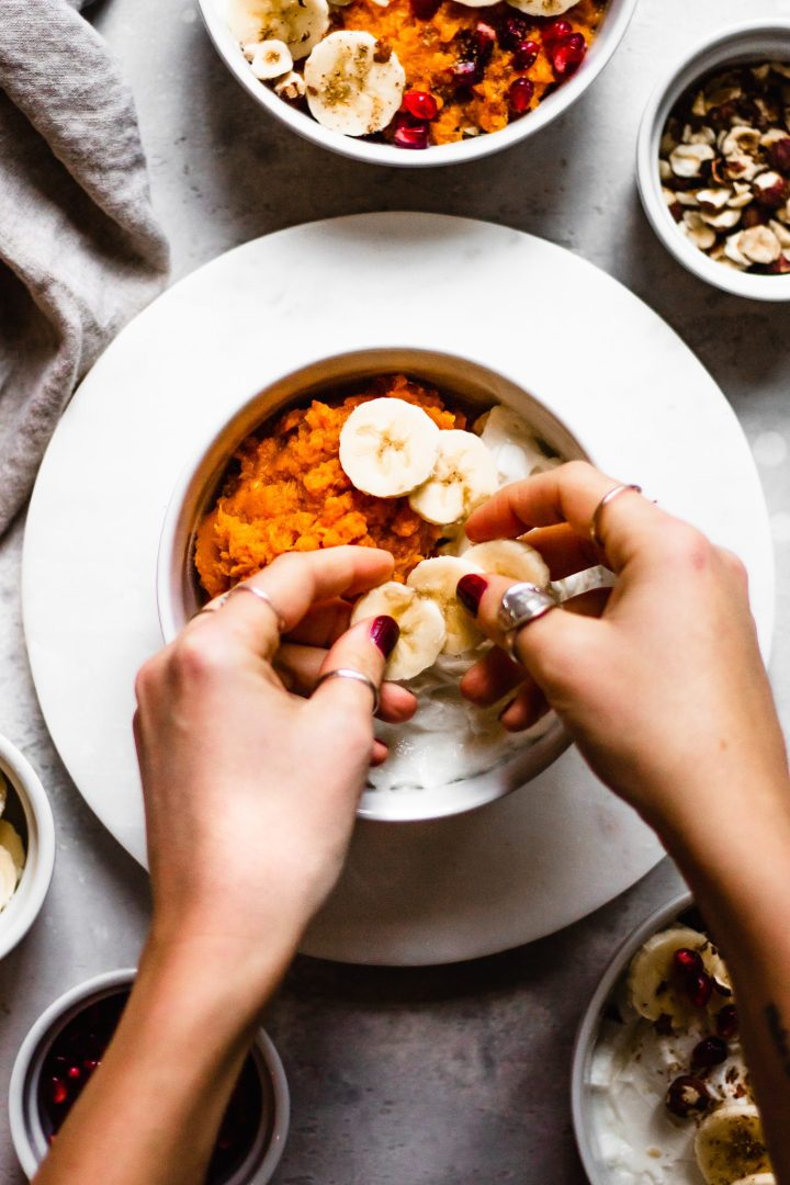 banana coins topping sweet potato bowl