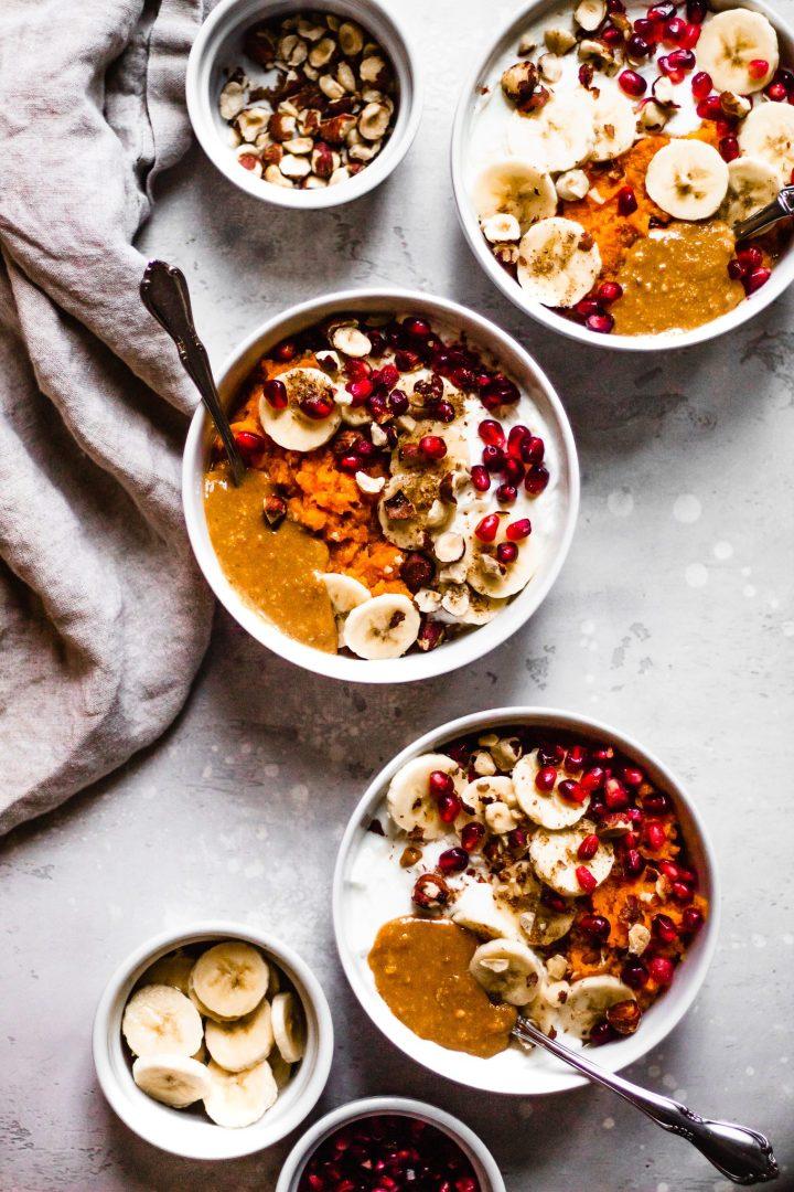 sweet potato breakfast bowls lined up