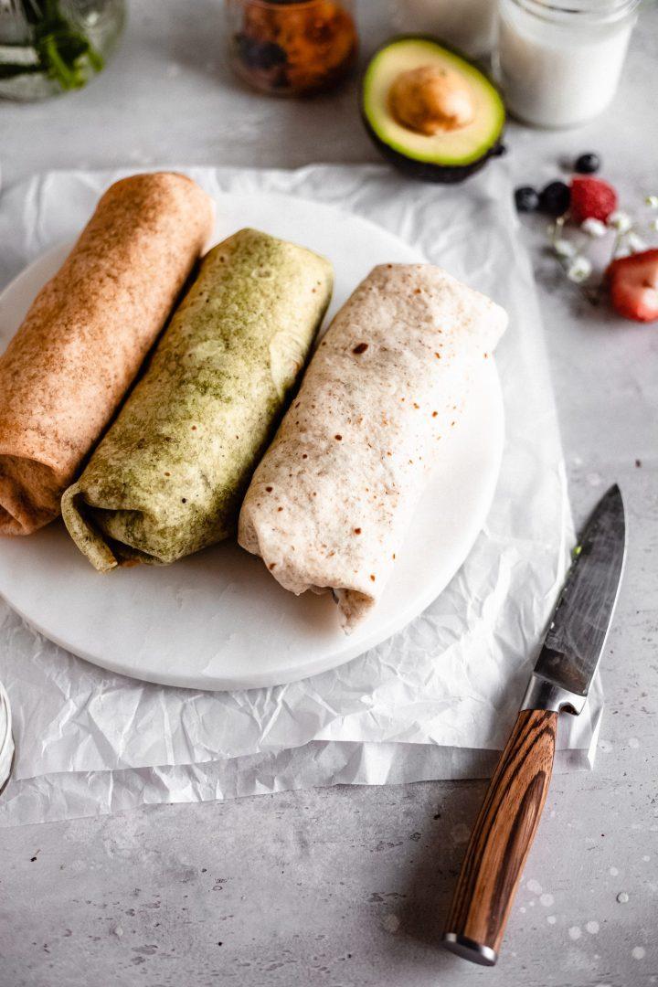 wrapped vegan breakfast burritos
