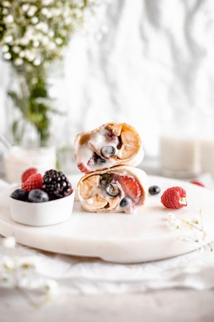 yogurt and berry breakfast burrito