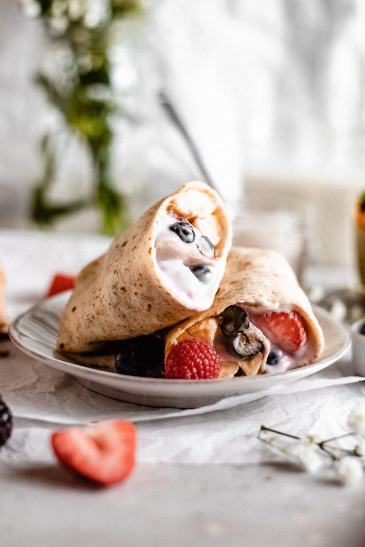berry and yogurt breakfast burrito