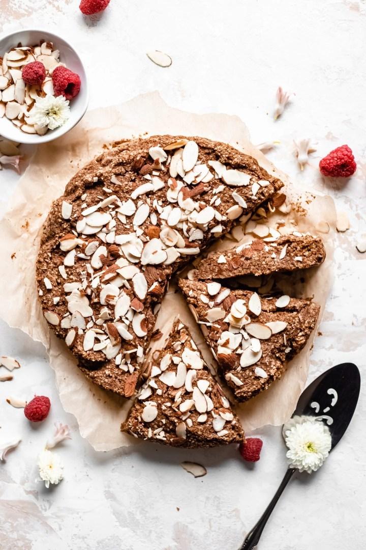 gluten free vegan sliced almond cake