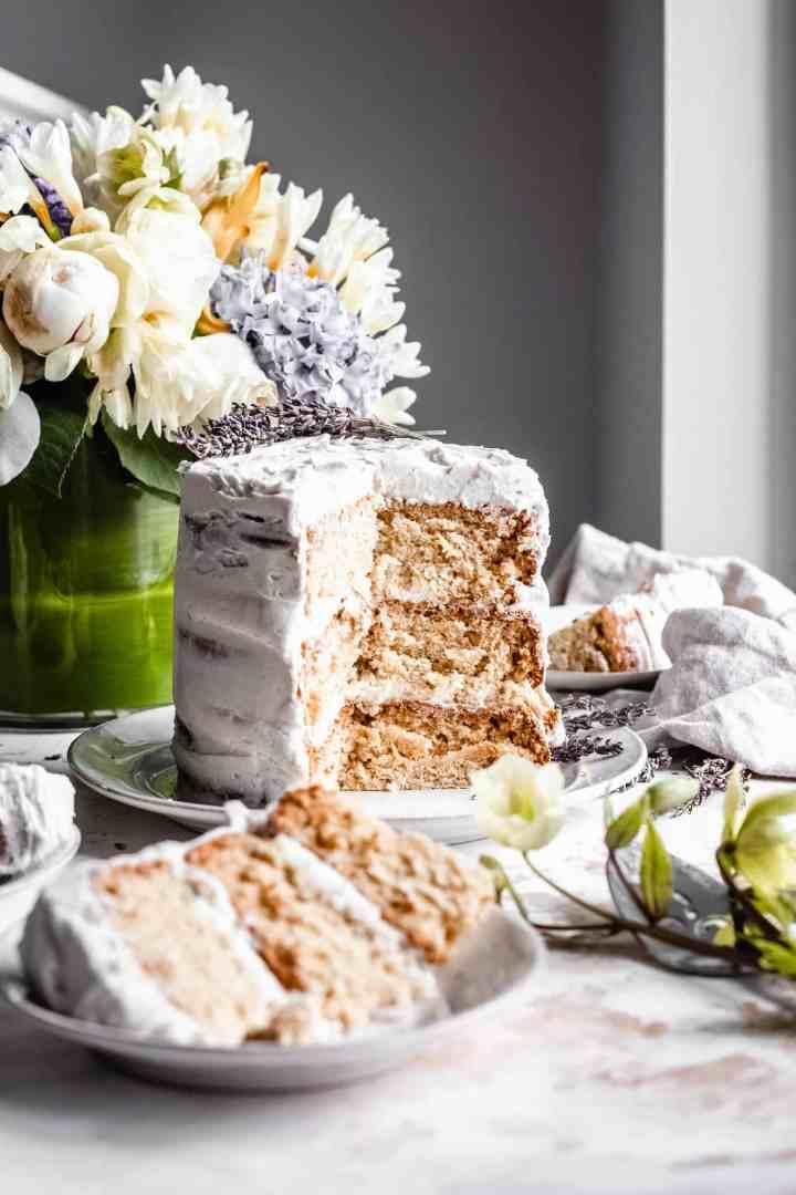 sliced vegan vanilla cake