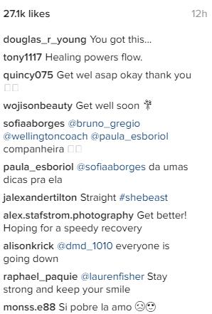 Social media comments following Lauren Fisher's surgery