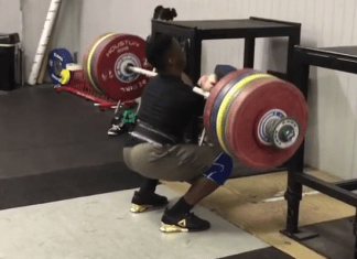 CJ Cummings front squats 222kg for 2