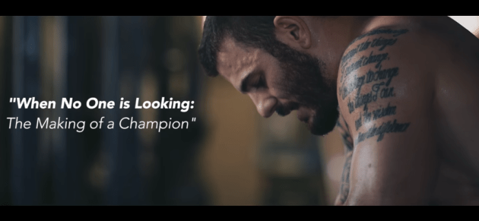 Screen shot of upcoming Mat Fraser documentary by NF Sports
