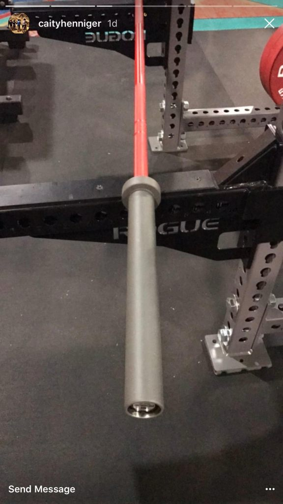 Custom colored barbell by Rogue Fitness - via @caityhenniger Instagram