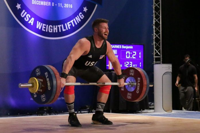Benjamin Barnes lifting at the 2016 USAW American Open. Barnes would fail a drug test and receive a 4-year sanction. Lifting Life/Photo.
