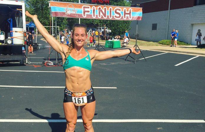 Brooke Wells finishes sprint triathlon last Sunday in preparation for CrossFit Games. @brookewellss/Instagram
