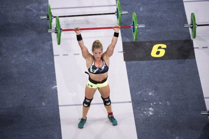 Alexis Johnson on the final barbell of Heavy 17.5 at the 2017 CrossFit Games. Photo courtesy of CrossFit Inc.