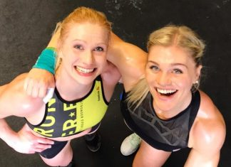 Annie Thorisdottir and Katrin Davidsdottir paired up to compete in the 2017 CrossFit Team Series. @anniethorisdottir/Instagram