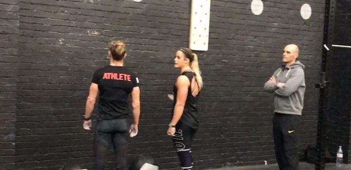 Sam Briggs and Sara Sigmundsdottir during the 2017 CrossFit Team Series. @sarasigmunds/Instagram