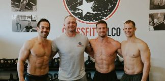 Rich Froning, Derek Robinson, Darren Hunsucker & Matt Hewett at CrossFit Wilco for Tri For Tots charity event.