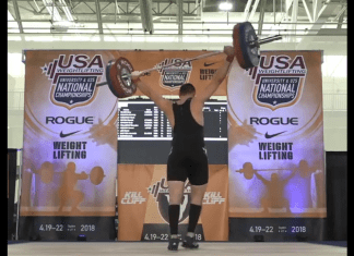 Gabe Stapinski makes amazing save at the 2018 USAW National University and Under-25 Championships in Ogden, Utah.