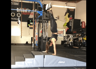 Lexi Beal demos the handstand walk obstacle course.