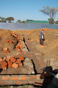 Foundation walls being built