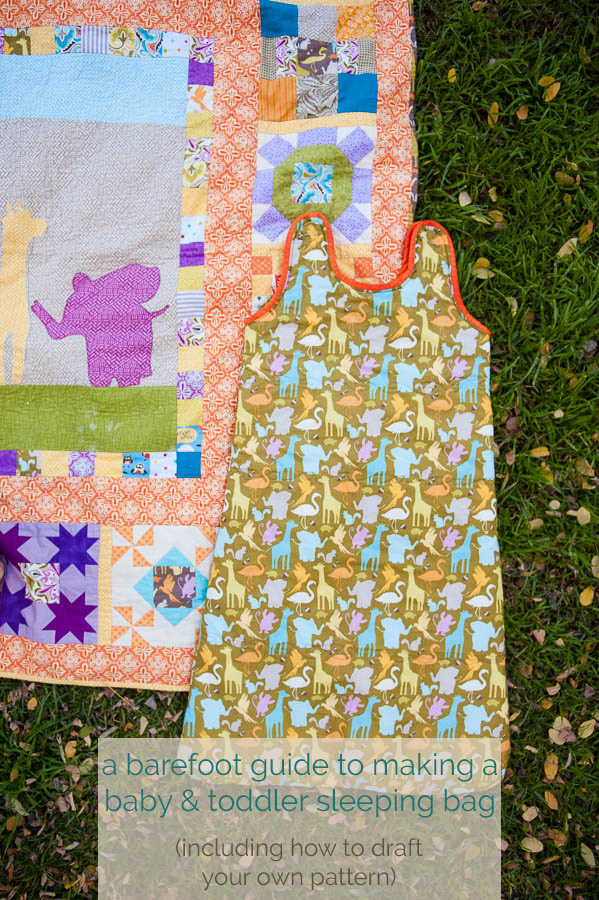 how to make a sleeping bag for a baby or toddler including drafting the pattern