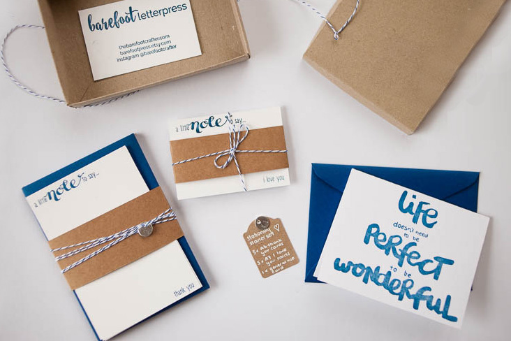 letterpress stationery happy mail starter kit (custom order)