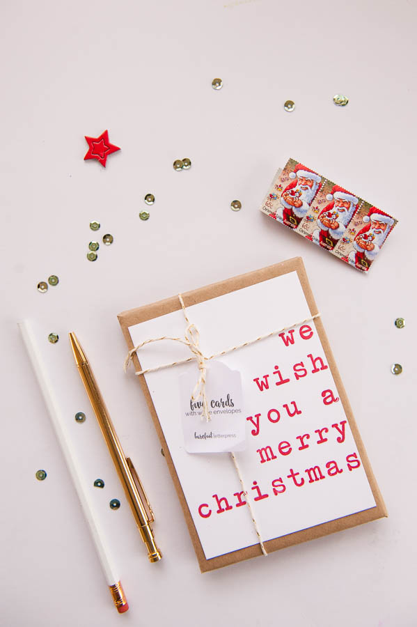 Letterpress Christmas Cards.We Wish You A Merry Christmas Letterpress Christmas Cards