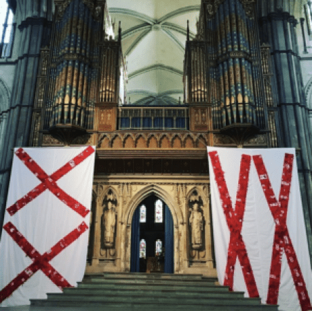 Rochester Cathedral with banners hanging