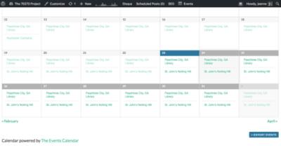 a monthly calendar