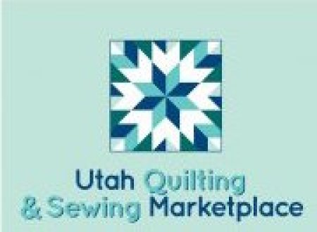 logo green base with blue and green quilt pattern and words Utah Quilting & Sewing Marketplace