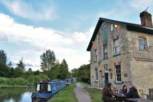 The Barge Inn canal-side in the evening
